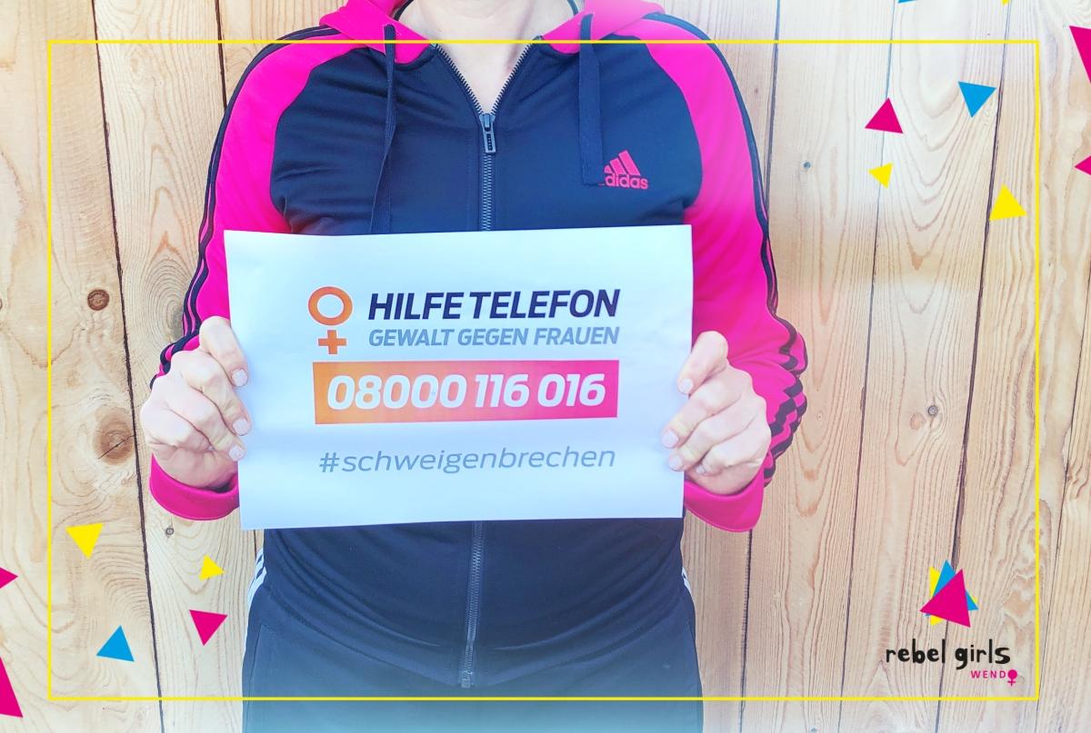 Wendo_hilfetelefon_schweigen_brechen_Aktion_Gegen Gewalt an Frauen